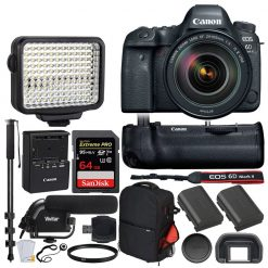 Canon EOS 6D Mark II Digital SLR Camera + EF 24-105mm f/4L IS II USM Lens + 128GB Memory Card + Canon RC-6 Wireless Remote + Vivitar DC59 Gadget Bag + 72 Monopod + Card Reader – Quality Valued Bundle