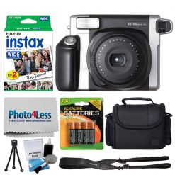 Fujifilm INSTAX Wide 300 Instant Film Camera + Fujifilm Instax Wide Instant Film Twin Pack (20 Shots) + Medium Case + AA 4 Batteries + Photo4Less Cleaning Cloth – International Version (No Warranty)