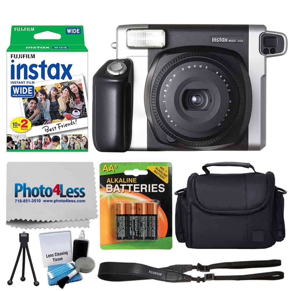 Fujifilm INSTAX Wide 300 Instant Film Camera + Fujifilm Instax Wide Instant  Film Twin Pack (20 Shots) + Medium Case + AA 4 Batteries + Photo4Less