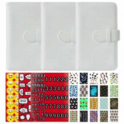 Pack of 3 Fujifilm Instax Wallet Albums (White) + Bonus Graduation-Themed Sticker Frames & 4 Pages of Emojis, Quotes, Letters & Numbers Scrapbooking Stickers!