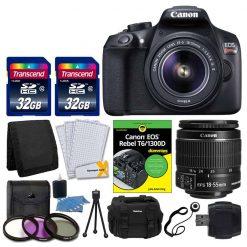 Canon EOS Rebel T6 DSLR Camera + EF-S 18-55mm IS II Lens + Transcend 64GB Card + T6/1300D for Dummies + 58mm Filter Kit + Vivitar Gadget Bag + Card Reader + Small Tripod + Cleaning Kit + Valued Bundle