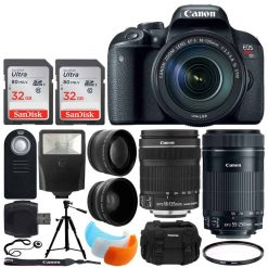 Canon EOS Rebel T7i DSLR Camera + EF-S 18-135mm f/3.5-5.6 IS STM Lens + 32GB Memory Card + Slave Flash + Wireless Remote + Quality Tripod + UV Filter + Vivitar DC59 Case + Complete Accessory Bundle