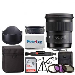 Sigma 50mm f/1.4 DG HSM Art Lens for Nikon F + 77mm 3-Piece Filter Kit UV, CP & FLD Filter + Lens Band, Stop Zoom Creep + 5 Piece Cleaning Kit + Cleaning Cloth & Pen + Lens Cap Holder – Accessory Kit