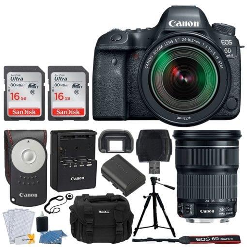 Canon EOS 6D Mark II DSLR Camera + EF 24-105mm f/3.5-5.6 IS STM Lens + 32GB Memory Card + RC-6 Wireless Remote + Vivitar DC59 Gadget Bag + Quality Tripod + USB Card Reader + Cleaning Kit – Full Bundle