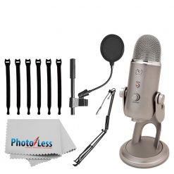 """Blue Yeti USB Microphone (Platinum) + On-Stage MBS5000 Broadcast/Webcast Boom Arm w/ XLR Cable + On Stage Pop Blocker 4"""" + Op/Tech Strapeez + Photo4Less Camera & Lens Cleaning Cloth – Complete Bundle"""