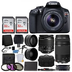 Canon EOS Rebel T6 Digital SLR Camera, 18-55mm EF-S Lens, EF 75-300mm Lens, 64GB Card, Telephoto and Wide Angle Lens, Extra Battery, 58mm UV Filters, Gadget Bag with Bundle Accessories