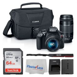 Canon EOS Rebel DSLR T6 Camera Body + Canon EF-S 18-55mm IS II Lens & EF 75-300mm III Lens + Canon EOS Shoulder Bag (Black) + SDXC 64GB Memory Card + Cleaning Cloth + Ultimate Canon Bundle