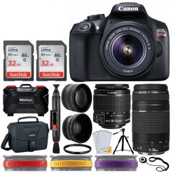 Canon EOS Rebel T6 DSLR Camera + EF-S 18-55mm f/3.5-5.6 IS II Lens + EF 75-300mm f/4-5.6 III Lens + Wide Angle & Telephoto + 64GB Memory Card + Canon 100ES Bag + Tripod + Memory Card Holder (24 Slots)