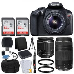 Canon EOS Rebel T6 Digital SLR Camera + Canon 18-55mm EF-S Lens & EF 75-300mm Lens + 64GB Memory Card + 58mm UV Filters + Extra Battery + USB Card Reader + Vivitar Gadget Bag + Valued Bundle