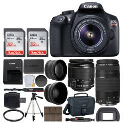 Canon EOS Rebel T6 Digital SLR Camera with 18-55mm EF-S f/3.5-5.6 IS II Lens + 58mm Wide Angle Lens + 2x Telephoto Lens + Flash + 64GB SDHC Memory Card + UV Filter + Tripod - Full Accessory Bundle