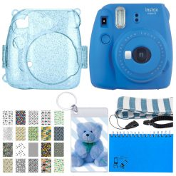 Great Deal! Cobalt Blue Instax Mini 9 Camera + Glitter Case For Mini 8/9 Camera + 20 Sticker Frames + Car Pk + Matching Blue Striped Camera Strap + Clear Photo Keychain + 60 Sleeve Scrapbooking Album