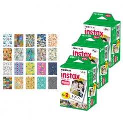 Fujifilm instax mini Instant Film (60 Exposures) + 20 Sticker Frames for Fuji Instax Prints Travel Package