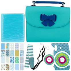Blue Butterfly Case For Fuji Mini Instax Cameras + Ice Blue 64-Sleeve Photo Album + Turquoise Camera Sticker + Blue Striped Camera Strap + Baby Boy Sticker Frames (20)