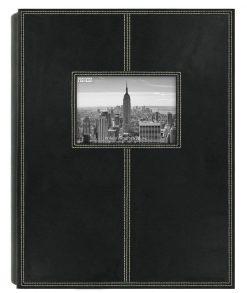 Pioneer Photo Albums 5PS300 300-Pocket Sewn Leatherette Frame Cover Photo Album, Black
