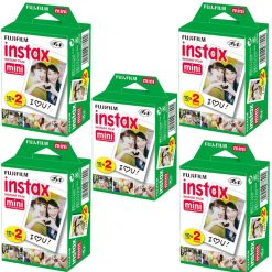 5 Packs of Fujifilm Instax Mini Twin Pack Instant Films - 100 Exposures!