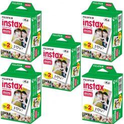 5 Packs of Fujifilm Instax Mini Twin Pack Instant Films - 100 Exposures!