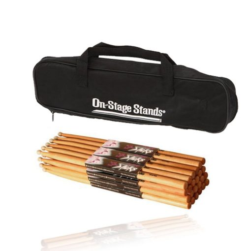 On Stage Hickory 5A Wood Tip Drumsticks 12 Pair + Bag