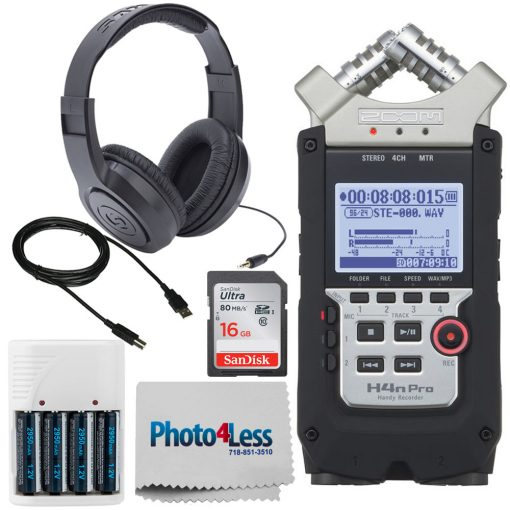 Zoom H4n Pro Handy Recorder + Stereo Headphones + SanDisk 16GB SD Card + Photo4less Cleaning Cloth + 4 AA Batteries with Charger + USB Cable