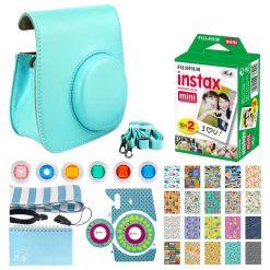 Fujifilm Instax Mini Instant Film (20 Exposures) + Ice Blue Case + Strap + Album