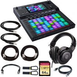 Akai Professional Force Standalone Music Production and DJ Performance System  + ATH-M30x Studio Headphones +64GB U3 SD Memory Card + Ethernet ,Instrument ,XLR Mic Cables + Cable Carrier