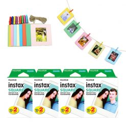 FUJIFILM instax SQUARE Instant Film (80 Shots) + Hanging Photo Frames