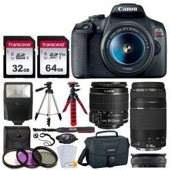 Canon EOS Rebel T7 Camera + 18-55 & 75-300mm Lenses + Acc. Kit