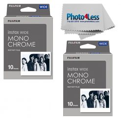 Fujifilm Instax Wide Monochrome Film 20 Exposures + Photo4less Cloth