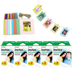 FUJIFILM instax SQUARE Instant Film (100 Shots) + Hanging Photo Frames