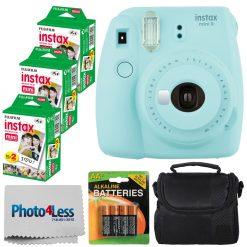 Fujifilm instax mini 9 Instant Film Camera + Fujifilm Instax Mini Twin Pack Instant Film (60 Exposures) + Compact Camera Case + AA Batteries + Cloth - International Version (No Warranty) (Ice Blue)