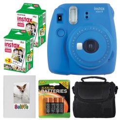 Fujifilm instax mini 9 Instant Film Camera (Cobalt Blue) + Fujifilm instax mini Instant Film (40 Exposures) + 4 AA Batteries + Camera Case + Selfie Photo Album – International Version (No Warranty)