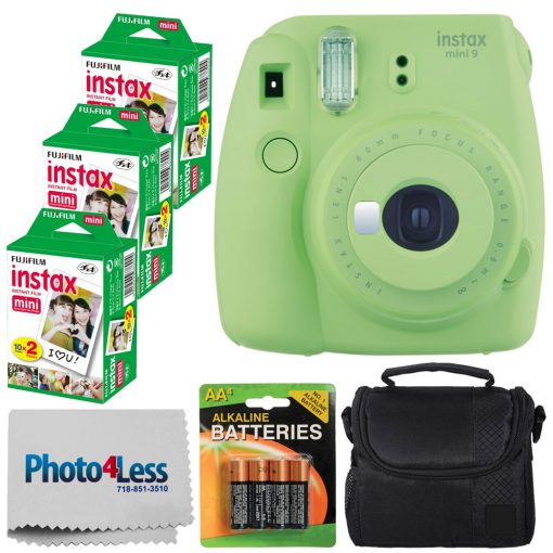 Fujifilm instax mini 9 Instant Film Camera (Lime Green) – Fujifilm Instax Mini Twin Pack Instant Film (60 Shots) + Compact Camera Case + AA Batteries + Cloth – International Version (No Warranty)