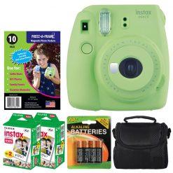 Fujifilm instax mini 9 Instant Film Camera (Lime Green) + Freez-A-Frame Magnetic Photo Pockets + Fujifilm Instax Film (40 Shots) + Small Case + 4 AA Batteries – International Version (No Warranty)