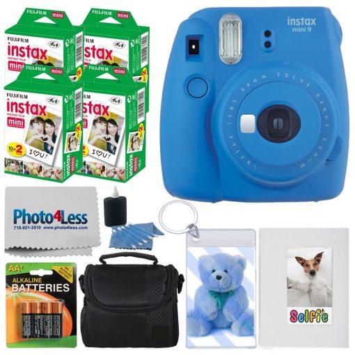 Fujifilm instax mini 9 Instant Film Camera (Cobalt Blue) + Fujifilm Instax Mini Twin Pack Instant Film (80 Shots) + Photo Keychain + Selfie Album + AA Batteries – International Version (No Warranty)