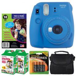 Fujifilm instax mini 9 Instant Film Camera (Cobalt Blue) + Freez-A-Frame Magnetic Photo Pockets + Fujifilm Instax Film (40 Shots) + Small Case + 4 AA Batteries – International Version (No Warranty)