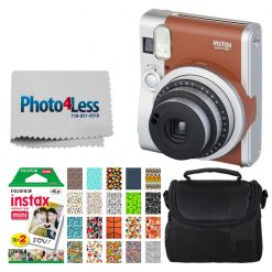 Fujifilm INSTAX Mini 90 Neo Classic Instant Camera (Brown) With 2x Fujifilm Instax Mini 20 Pack Instant Film (40 Shots) + Compact Camera Case + Cleaning Cloth - International Version (No Warranty)