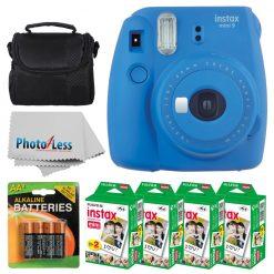 Fujifilm instax mini 9 Instant Film Camera (Cobalt Blue) + Fujifilm Instax Mini Twin Pack Instant Film (80 Shots) + Camera Case + AA Batteries + Accessory Bundle