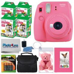Fujifilm instax mini 9 Instant Film Camera (Flamingo Pink) + Fujifilm Instax Mini Instant Film (80 Shots) + Selfie Album + Case + Photo Keychain + 4 AA Batteries – International Version (No Warranty)