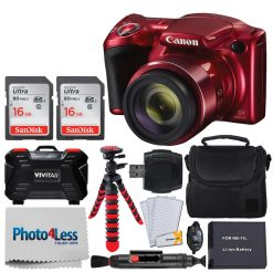 Canon PowerShot SX420 IS Digital Camera (Red) + Transcend 32GB Memory Card + Digital Camera Case + Extra Battery + Memory Card Wallet + Cleaning Kit + Hand Grip + Table Top Tripod + Complete Bundle