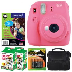 Fujifilm instax mini 9 Instant Film Camera (Flamingo Pink) + Freez-A-Frame Magnetic Photo Pockets + Fujifilm Instax Film (40 Shots) + Small Case + 4 AA Batteries – International Version (No Warranty)