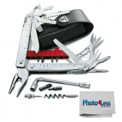 Exclusive Bundle! SwissTool CS Plus, Stainless Steel, 115mm, Leather Sheath + Photo4less Cleaning Cloth
