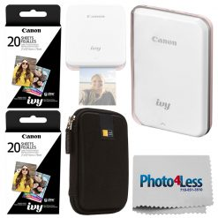 Canon IVY Mini Photo Printer, Rose Gold + Zink 40 Sheets + Case