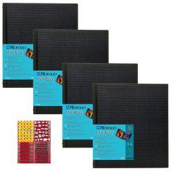 Itoya ProFolio Multi-Ring Refilable Binder 11×17 Pack of 4 + Stickers