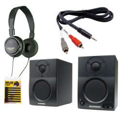 Samson MediaOne BT3 Active Studio Monitors with Bluetooth + Manufacturer Supplied High-Quality Accessories