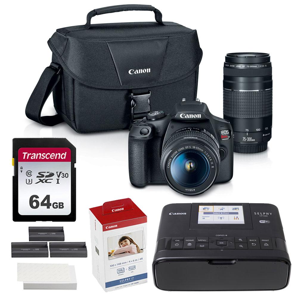 Canon EOS Rebel T7 DSLR Camera Double Lens Kit + Case + Acc