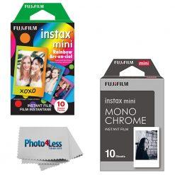 Fujifilm Instax Mini Monochrome Film (10 Exposures) + Rainbow (10 Exposures)