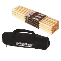 On Stage Hickory 2B Nylon Tip Drumsticks 12 Pairs + On Stage Drum Stick Bag
