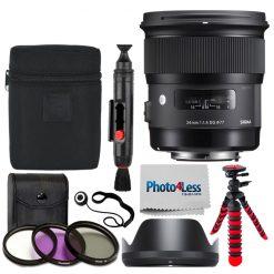 Sigma 24mm F1.4 ART DG HSM Lens for Nikon F + 77mm Filter Kit + Tripod + Cloth
