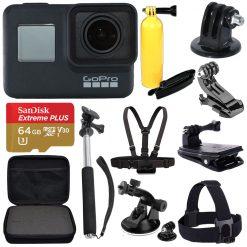 GoPro HERO7 Black-Waterproof Action Camera, 4K HD Video Full Accessory Bundle