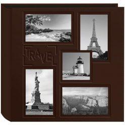 "Pioneer Collage Frame Embossed ""Travel"" Brown 240 Pocket Photo Album"
