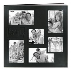 """Pioneer Sewn Embossed Collage Frame Post Bound Album 12""""X12""""- Black - Family"""